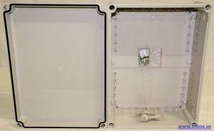 Plastic enclosure with grey cover 280x380x130mm