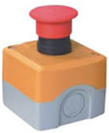 Red Mushroom Emergency Stop push button switch in yellow box