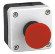 Red Mushroom Emergency Stop push button switch in whit box